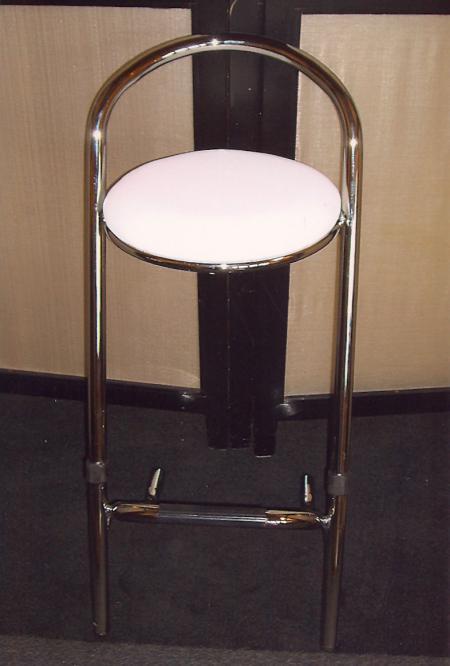 Luxe barkruk chroom met wit zitting
